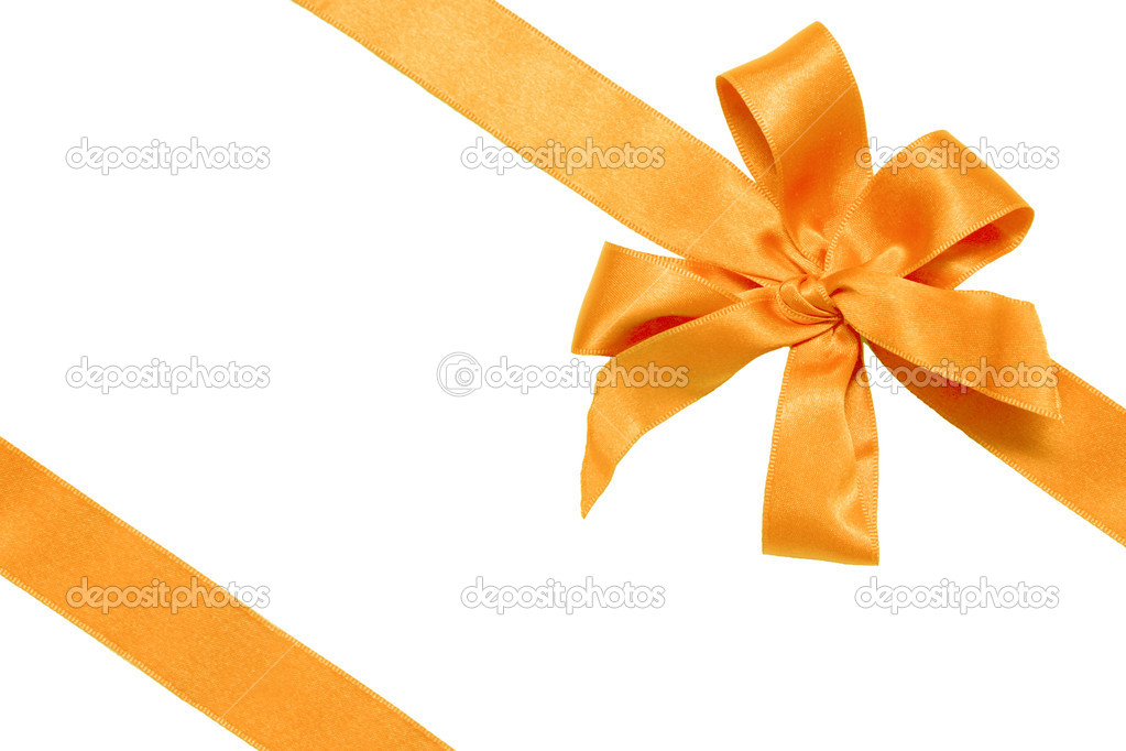 Gift golden ribbon and bow isolated on white.  Stock Photo #1225831