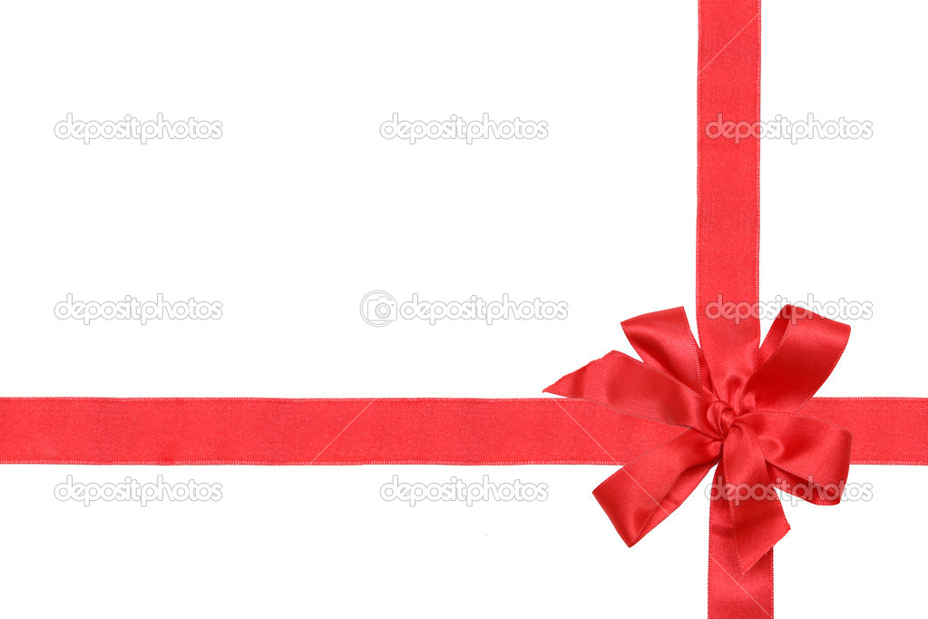 Gift red ribbon and bow isolated on white. — Stockfoto #1225896