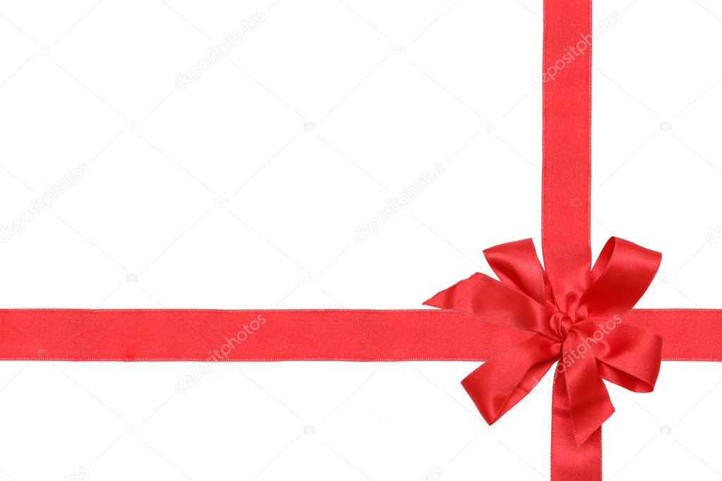 Gift red ribbon and bow isolated on white. — Lizenzfreies Foto #1225896