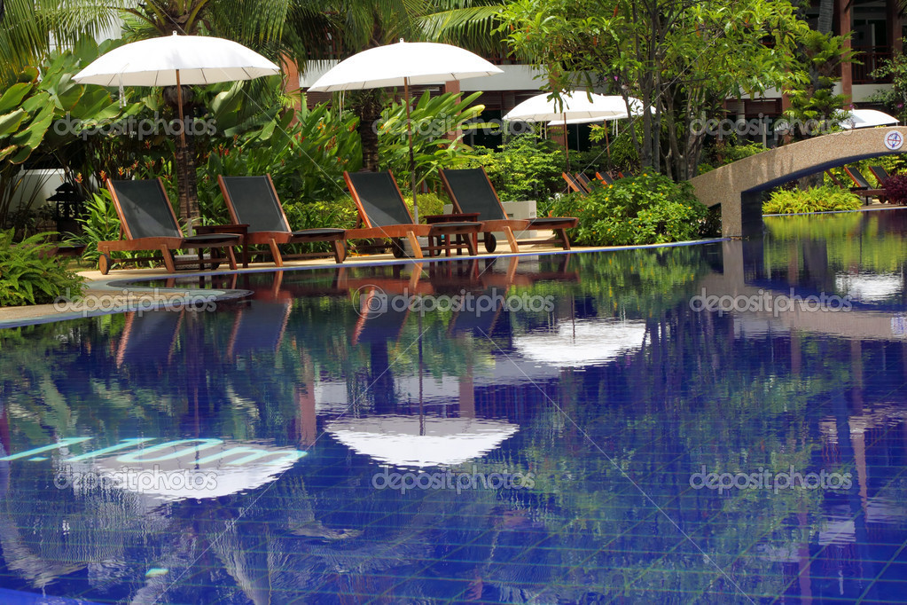  Tropical pool in luxury hotel  Stock Photo #1226425