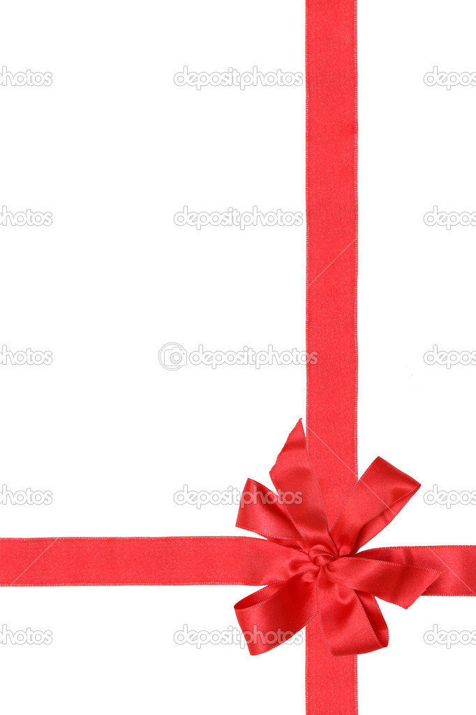 Gift red ribbon and bow isolated on white. — Stock Photo #1229349