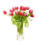 Pink tulips are in a vase — Stock Photo