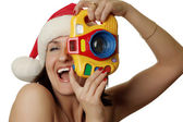 The cheerful christmas photographer — Stock Photo