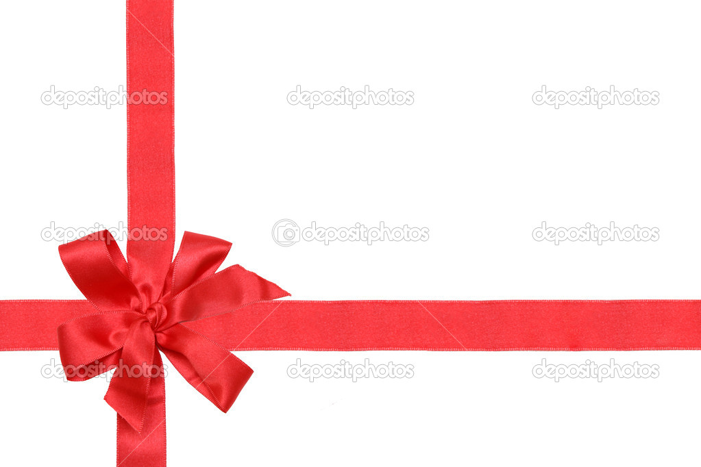 Gift red ribbon and bow isolated on white. — Stock Photo #1841936