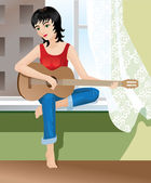 Girl playing guitar — Stock Vector