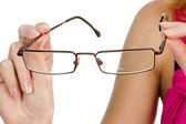 Glasses in hand isolated — Stock Photo