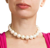 Put necklace around neck — Stock Photo