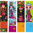 Fashion Christmas girls banners — Foto de Stock