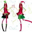 Royalty-Free Stock Vector Image: Santa girls