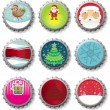 Christmas bottle caps - vector set. — Vettoriali Stock