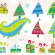 Vector de stock : Set of christmas trees.