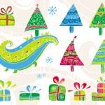ensemble d'arbres de Noël — Vecteur