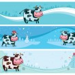 Cute friendly cow banners. — Stock Vector