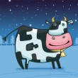 Stock Vector: Cute friendly cow