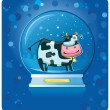 Cow inside of the snow-dome. — Stock Vector