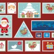 Christmas and New Year Stamps — Imagen vectorial