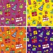 Seamless christmas presents pattern set - Stock vektor