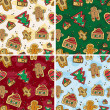 Christmas Seamless Gingerbread Pattern - Stock Vector