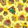 Stock Vector: Christmas Gingerbread Pattern.