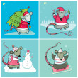 Christmas cards with Santa Rats — Stockvektor