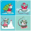 Christmas cards with Santa Rats — Imagen vectorial