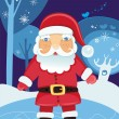 Santa Claus in the forest at night - Stock Vector