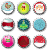Christmas bottle caps - vector set. — Stock Vector