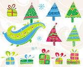 Set of christmas trees. — Stock Vector