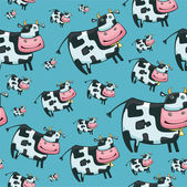 Cute friendly cow pattern — Stock Vector