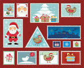 Christmas and New Year Stamps — Stock Vector