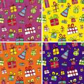 Seamless christmas presents pattern set — Stock Vector