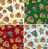 Christmas Seamless Gingerbread Pattern — Stock Vector