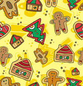 Christmas Gingerbread Pattern. — Stock Vector