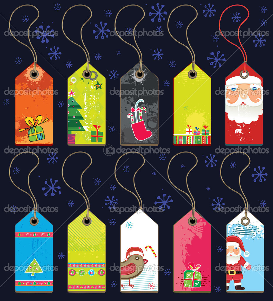 Christmas grunge tags — stock vector dianka