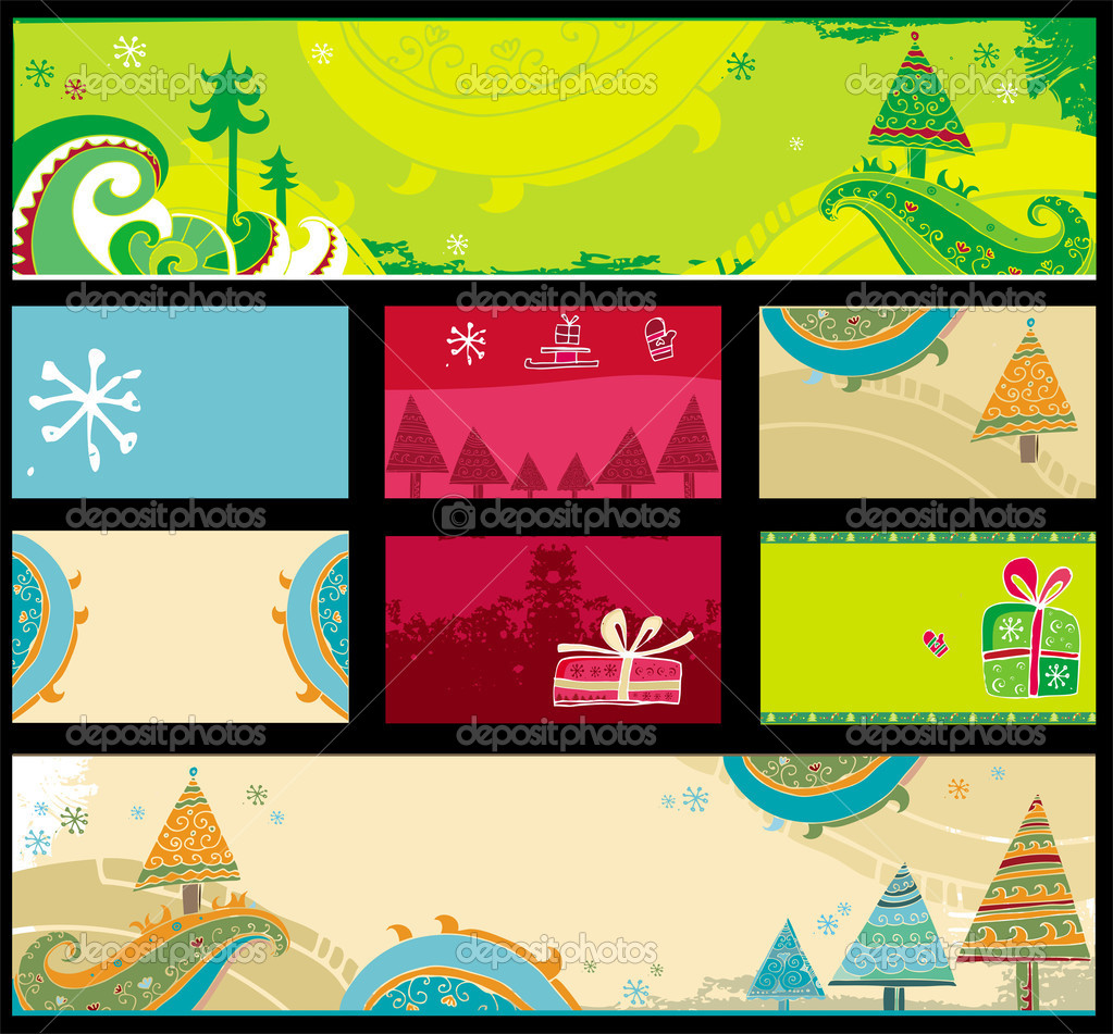 Vector set of hand drawn Christmas banners and cards — Vektorgrafik #1224821