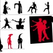 Stock Photo: Aliens silhouettes vector