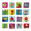 Flowers Icons - Stock Photo