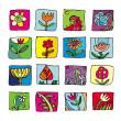 Flowers Icons — Stock Photo