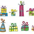 Cute colorful presents — Stock Photo
