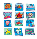 Sea marine underwater icons — Stock Photo