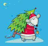 Santa Ratte mit Weihnachtsbaum — Stockfoto