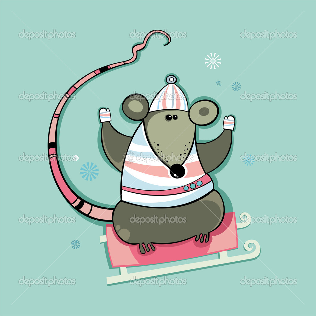 Winter rat. 2008 - Year of the Rat. — Stock Photo #1282192
