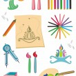 Colorful set of art supplies - Stock Photo