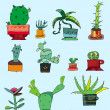 Vector collection of small cactuses - Stock Photo