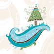 Hand drawn christmas tree card — Stok Fotoğraf #1297339