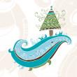 Hand drawn christmas tree card — Stock Photo