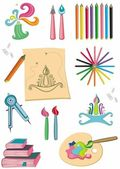 Colorful set of art supplies — Stock Photo