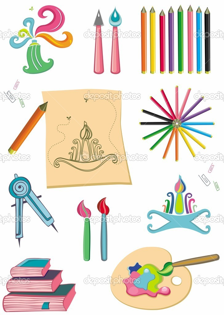 Colorful set of art supplies  Stock Photo #1297197
