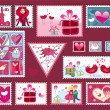 Festive The Valentine's Stamps — Stockvectorbeeld