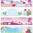 Stok Vektör: Set of Valentine's day banners 3
